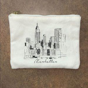 Forever 21 White Canvas Manhattan NY Makeup Bag